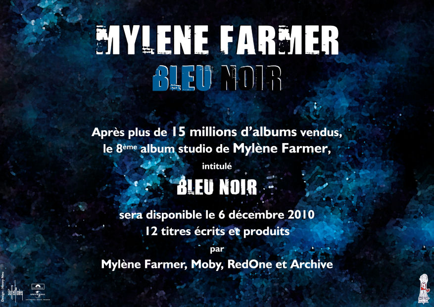 Mylène Farmer Bleu Noir Communiqué officiel