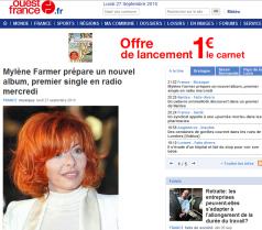 Mylène Farmer ouest-france.fr 27 septembre 2010