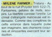 Mylène Farmer Paroles & Musique Mai 1987
