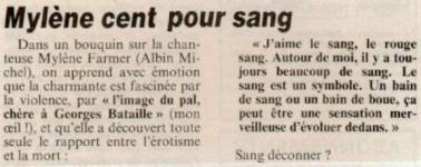 Mylène Farmer Presse La Canard Enchaîné 14 juin 1989