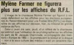 Mylène Farmer Presse Le progrès 17 juin 1989