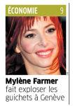 Mylènr Farmer Presse Le Matin Bleu 17 août 2009