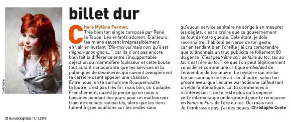 Mylène Farmer Presse Les Inrockuptibles 17 novembre 2010