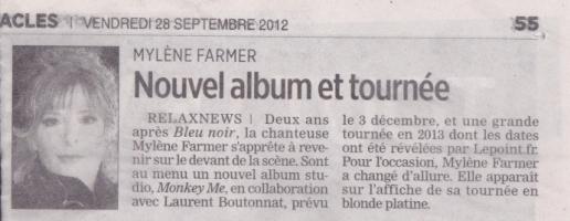 Mylène Farmer Presse La Journal de Québec 28 septembre 2012
