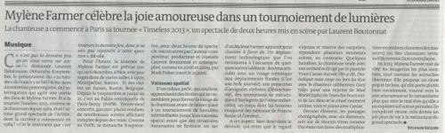 Mylène Farmer Presse Le Monde 10 septembre 2013