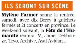 Mylène Farmer Presse Le Parisien 02 septembre 2013